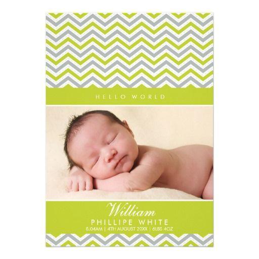 PHOTO BIRTH ANNOUNCEMENT  sweet chevron lime green