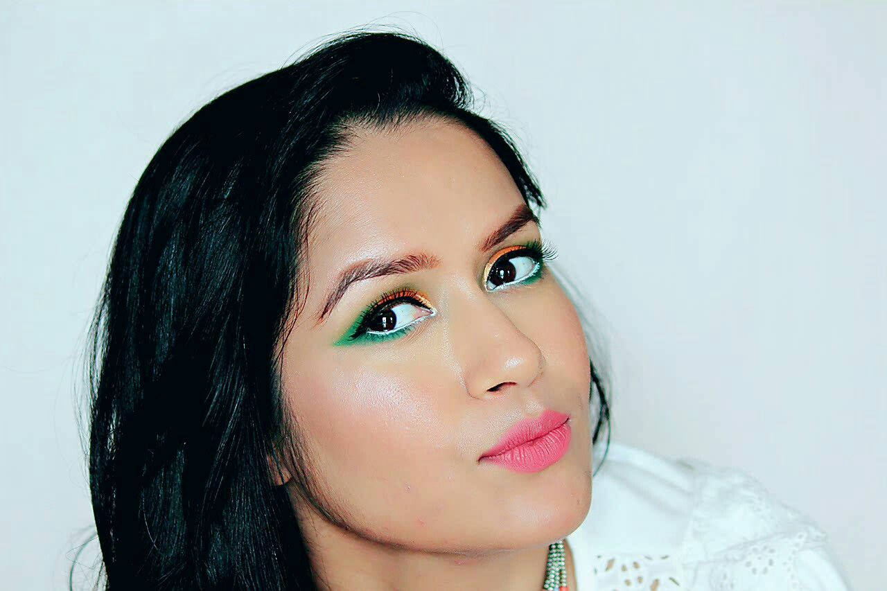 Indian flag tricolor makeup look. Happy Independence Day!☺