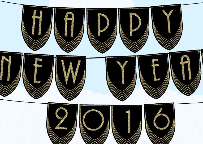 great gatsby happy new year 2016 bunting banner art deco printable black and gold