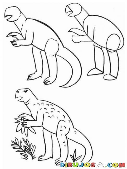 Como aprender a dibujar un drinosaurio en 3 pasos para - Aprender a pintar ...