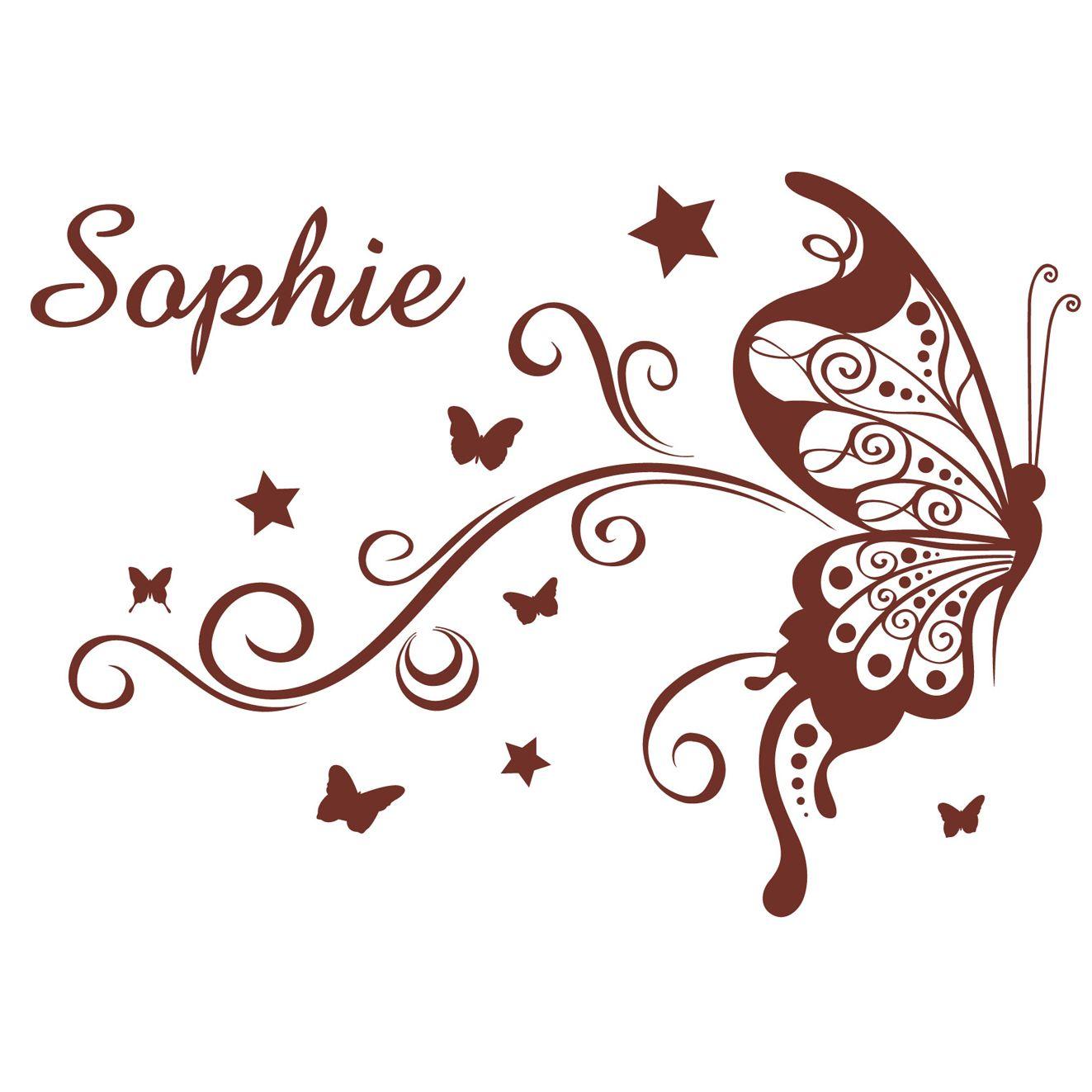 Dessin arabesque papillon stickers sticker mural prenom fille coeur arabesque papillo with - Stickers muraux personnalise ...