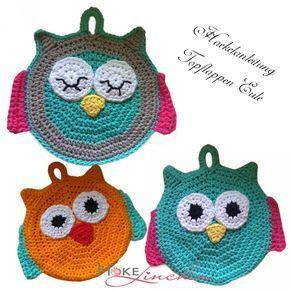 Häkelanleitung Topflappen Eule #crochetpotholderpatterns