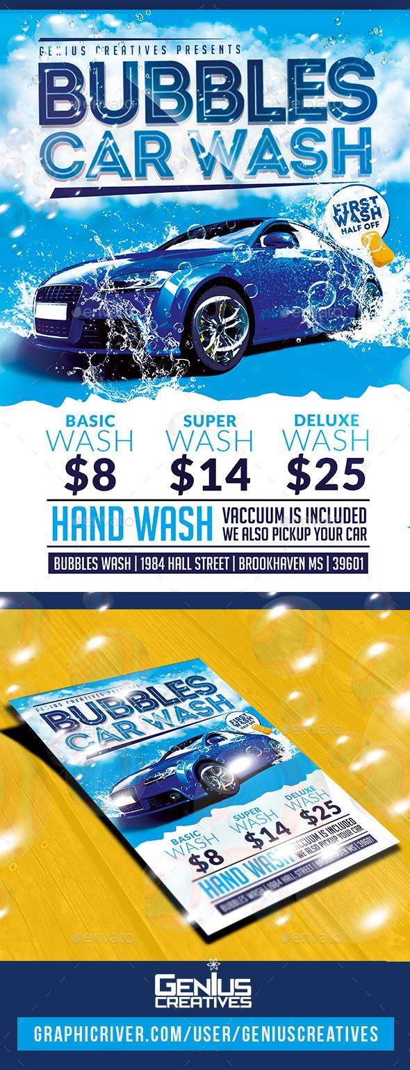 #Car Wash #Flyer   Commerce Flyers Download Here:  Https://graphicriver.net/item/car Wash Flyer/20458024?refu003dalena994