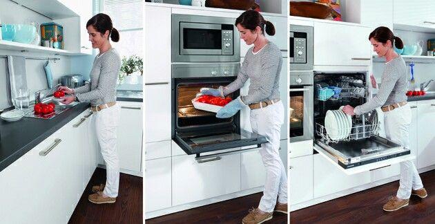 Küchenzeile, mikrowelle backofen und spülmaschine hoch
