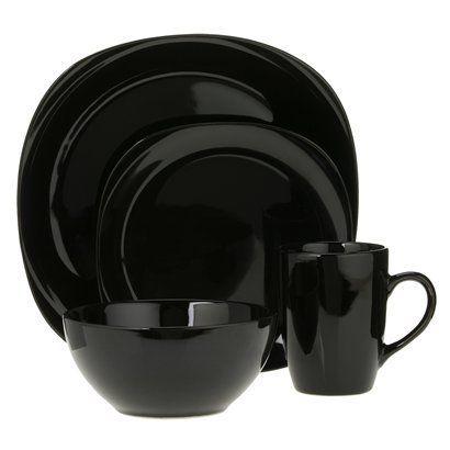 Dinnerware Set - Black  sc 1 st  Pinterest & Quadro 16-pc. Dinnerware Set - Black