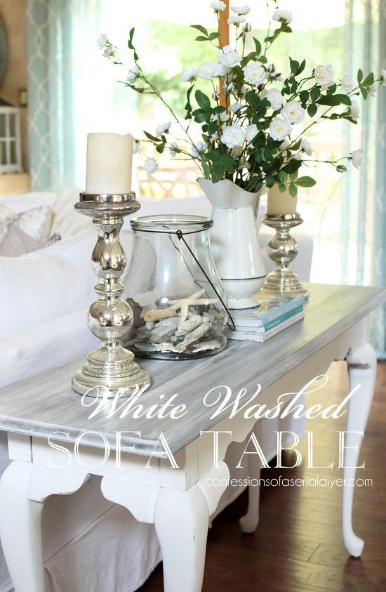 White Washed Sofa Table Sofa Table Decor Decor Painted Furniture