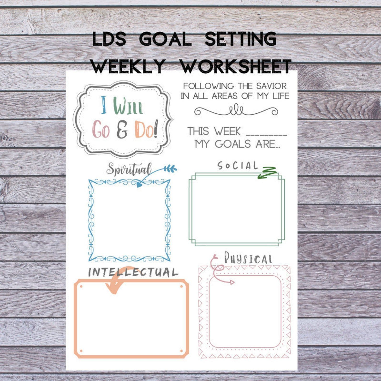 Lds Youth And Children Goal Setting Weekly Worksheet And