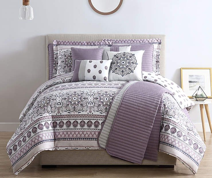 Gray  Lilac Medallion King 10-Piece Reversible Comforter  Quilt