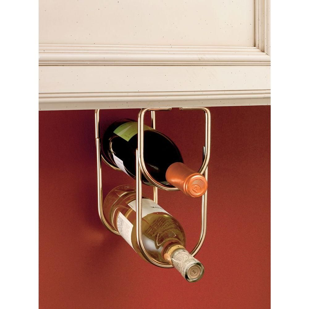 Rev A Shelf 0 625 In H X 4 25 In W X 9 In D Brass Under Cabinet Double Wine Bottle Rack Wine Bottle Rack Hanging Wine Rack Bottle Rack