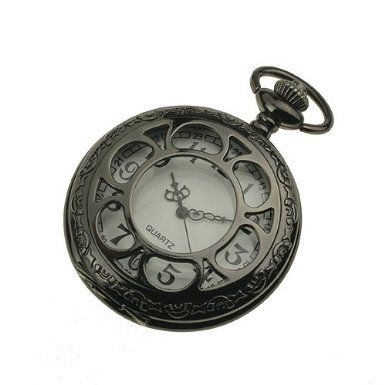 3.ESS Mens Black Stainless Steel Case White Dial Antique Pocket Watch with Chain WP055