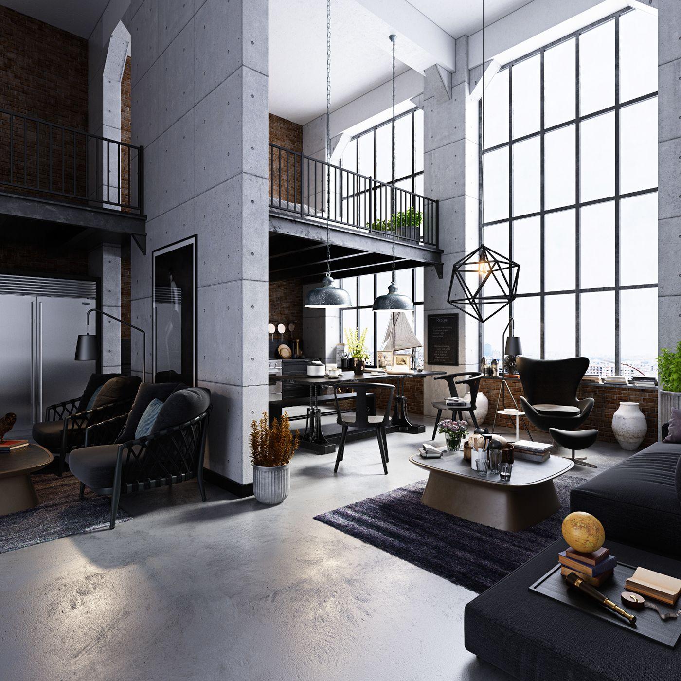 Studio loft apartment on behance en 2018 pinterest maison appartement design - Loft design industriel cloud studio ...