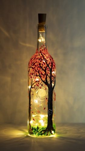 Hey Check Out Blossoming Forest Magic Wine Bottle With