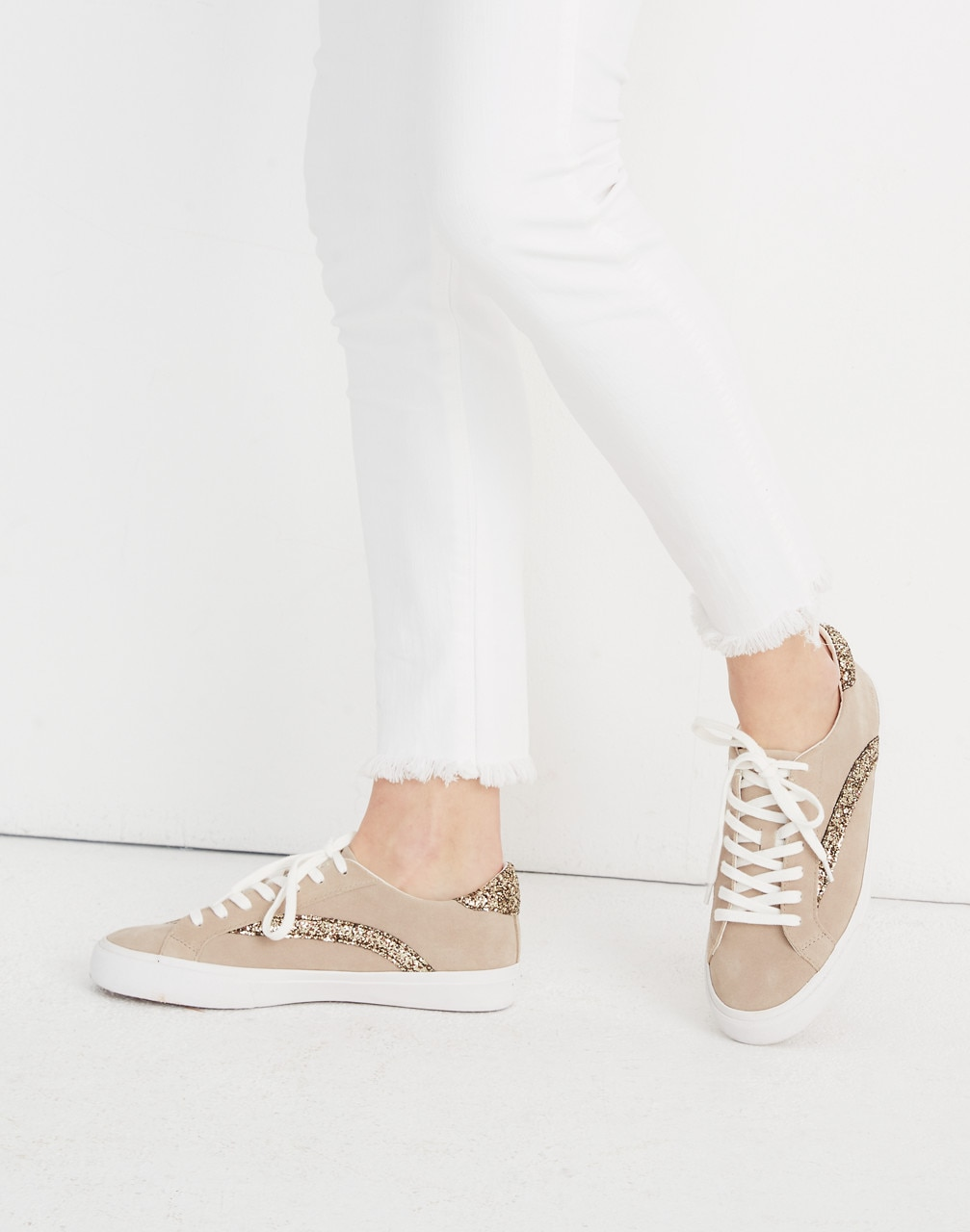 Top Sneakers in Glitter-Accented Suede
