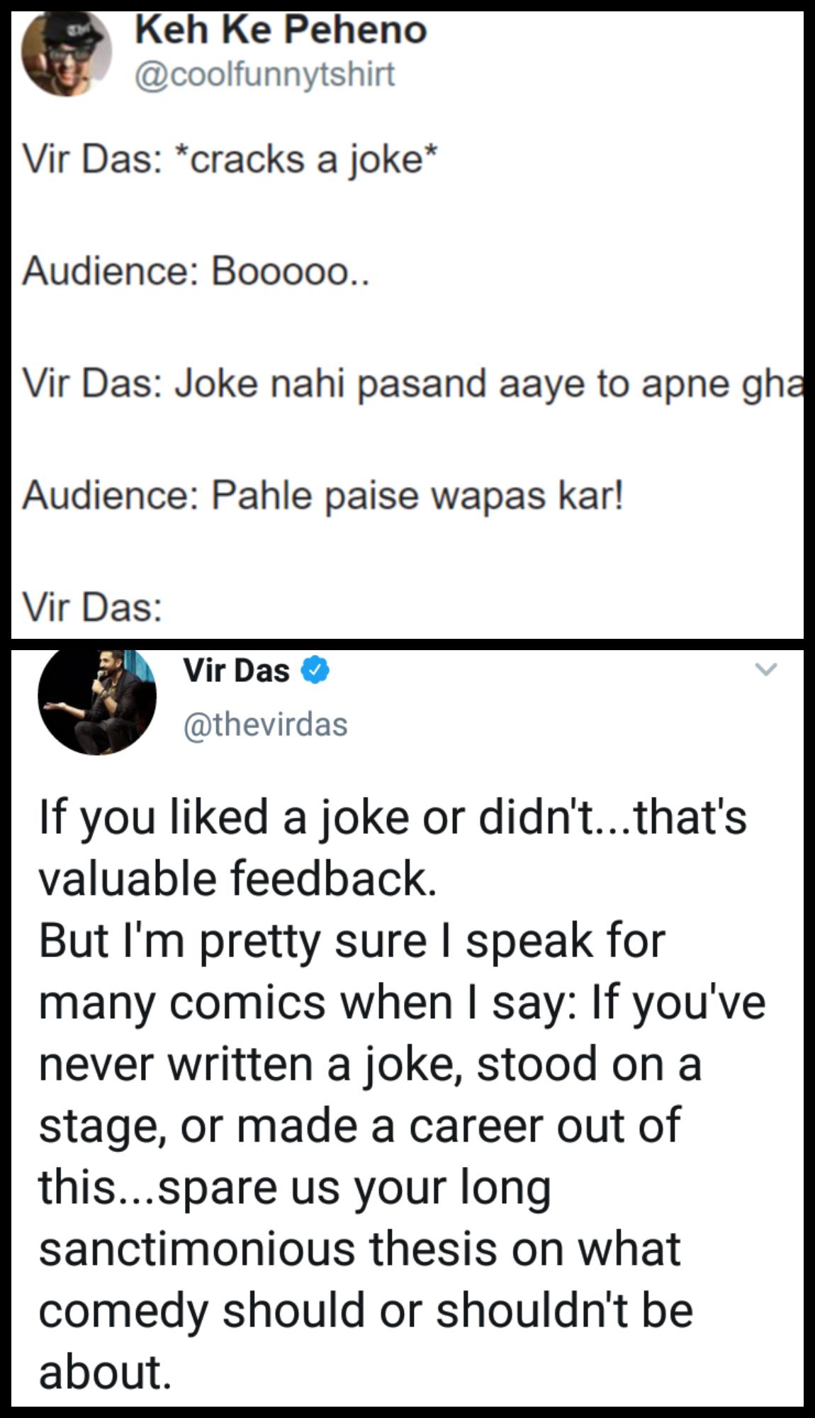 Netizens Roast Vir Das After He Asked Not To Criticize Comics Unless They Have Written Joke Jokes Dad Jokes Funny Memes