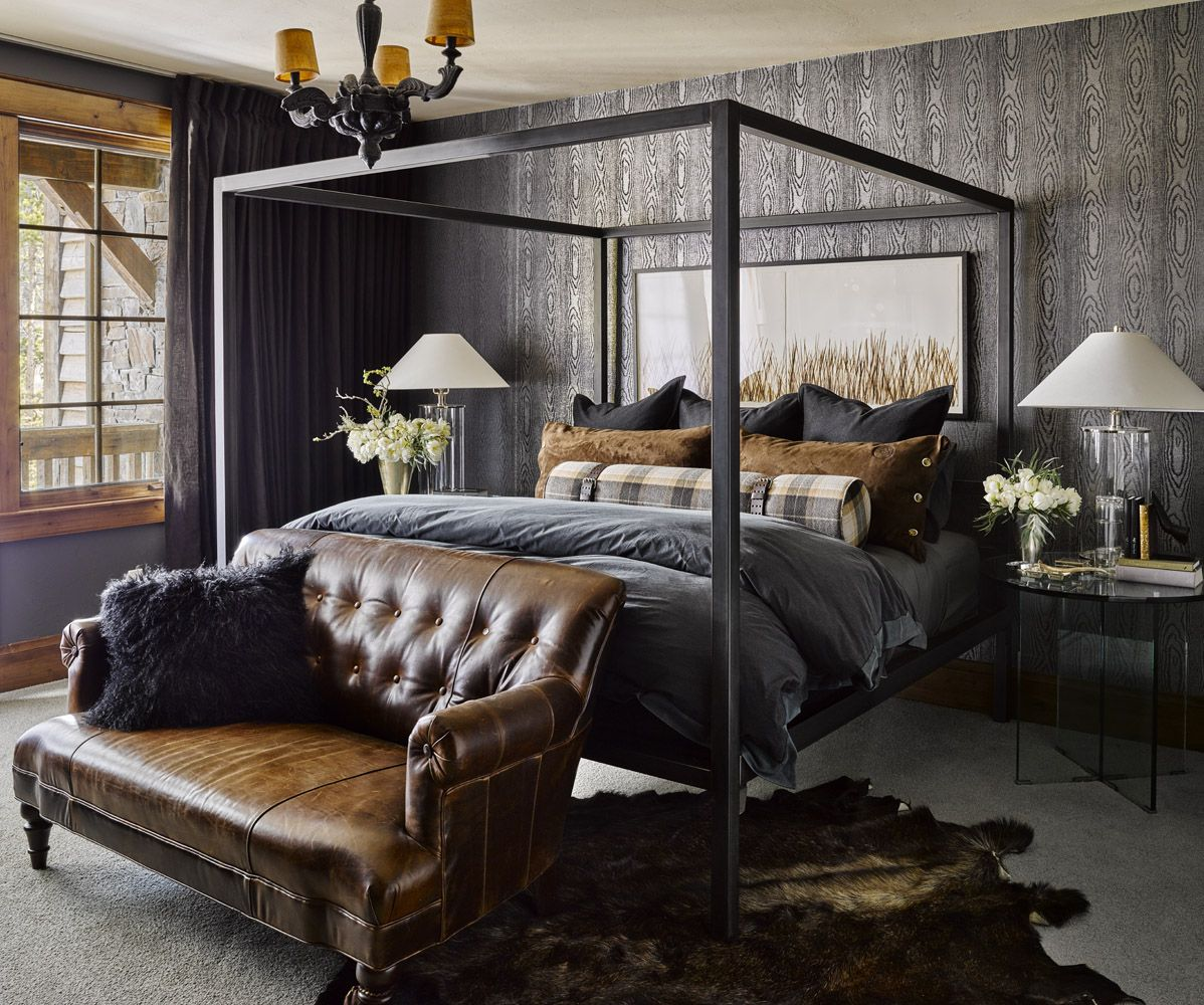 Masculine bedroom with charcoal and leather