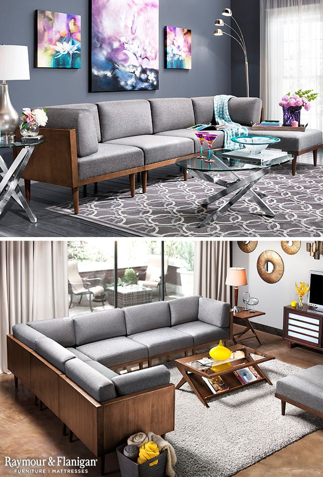 Mid Century Modern Design Truly Shines With The New Soto Living Room Collection Its Low Backs And Tapered Fee Wooden Sofa Designs Sofa Table Decor Sofa Design #raymour #flanigan #living #room #sets
