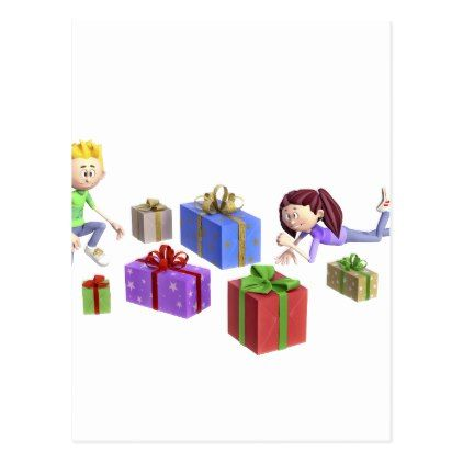 Cartoon Children Opening Presents Postcard in 2018 christmas cards