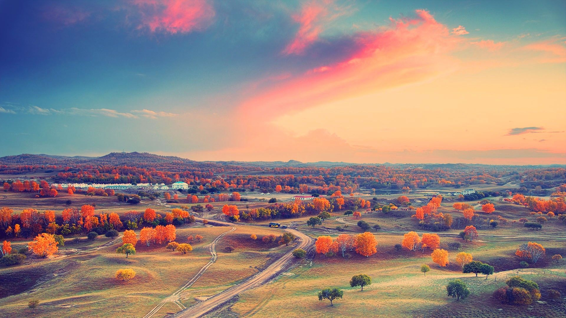 Sunset Valley Skyline 1920x1080 Nature HD Wallpapers