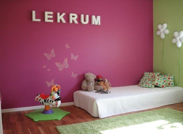 wandfarbe kinderzimmer mädchen fuchsia grün schmetterlinge ... - Wandfarbe Grun Kinderzimmer