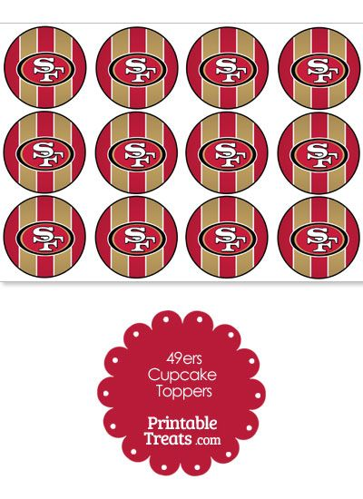 Printable 49ers Logo Cupcake Toppers From PrintableTreats