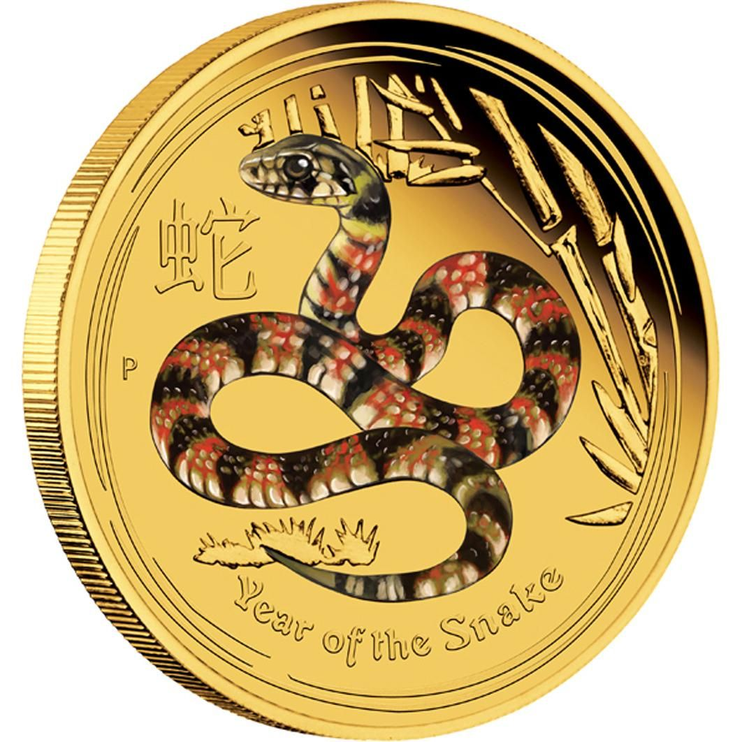 Australian Lunar Series II 2013 Year of the Snake Gold Proof Coloured Editions Perth Mint, Australia