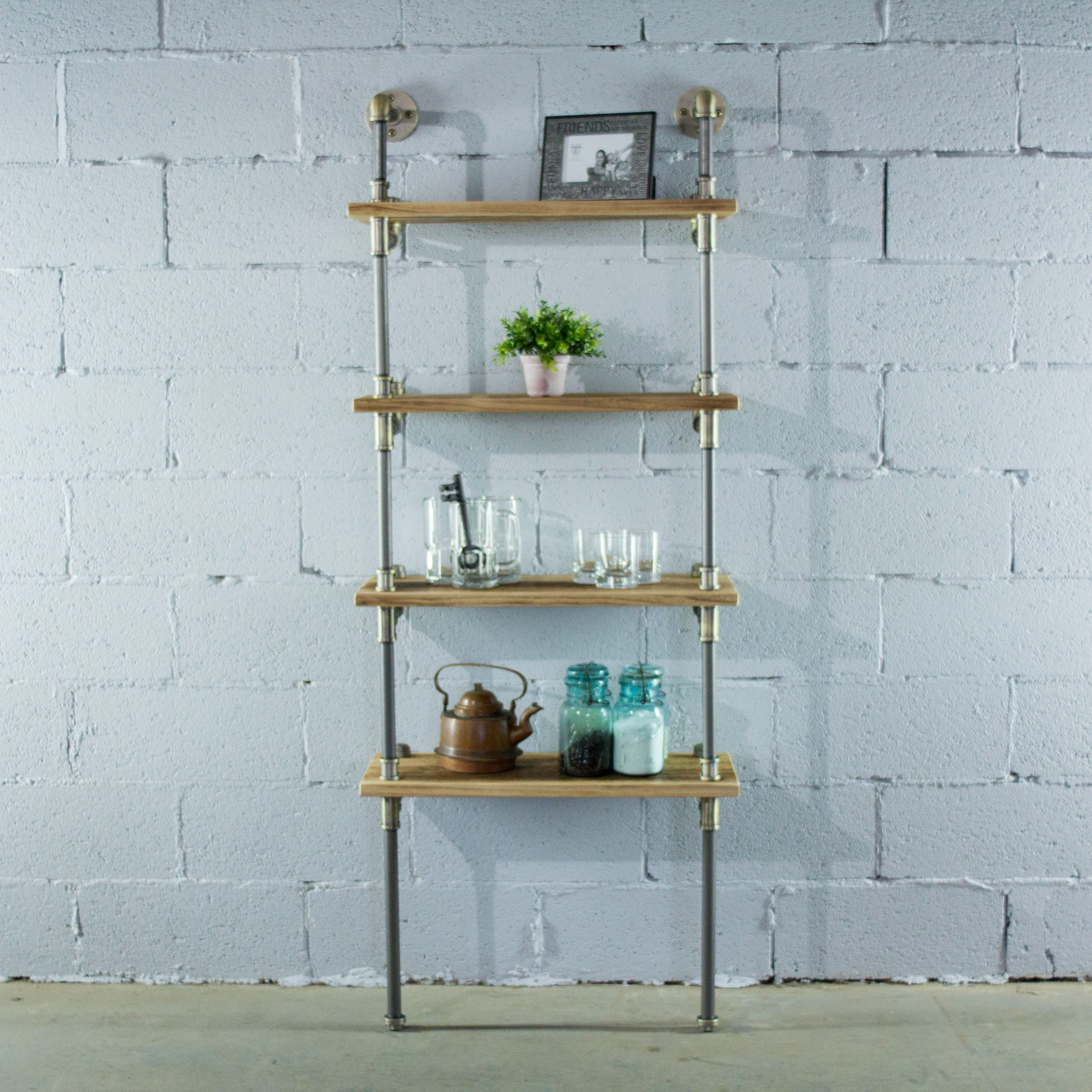 Sacramento Industrial Chic 27 Wide 4 Tier Etagere Bookcase Reclaimed Wood Finish Etagere Bookcase Wood Bookcase