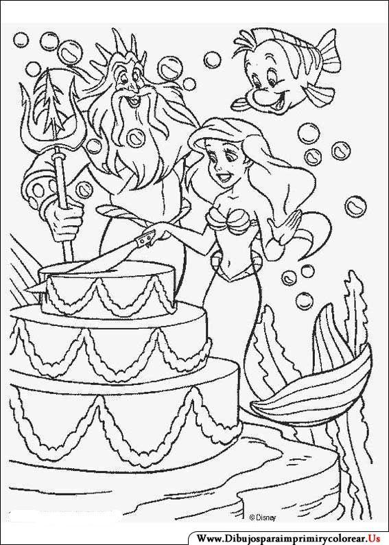 Dibujos de La Sirenita para Imprimir y Colorear | Ariel | Mermaid ...