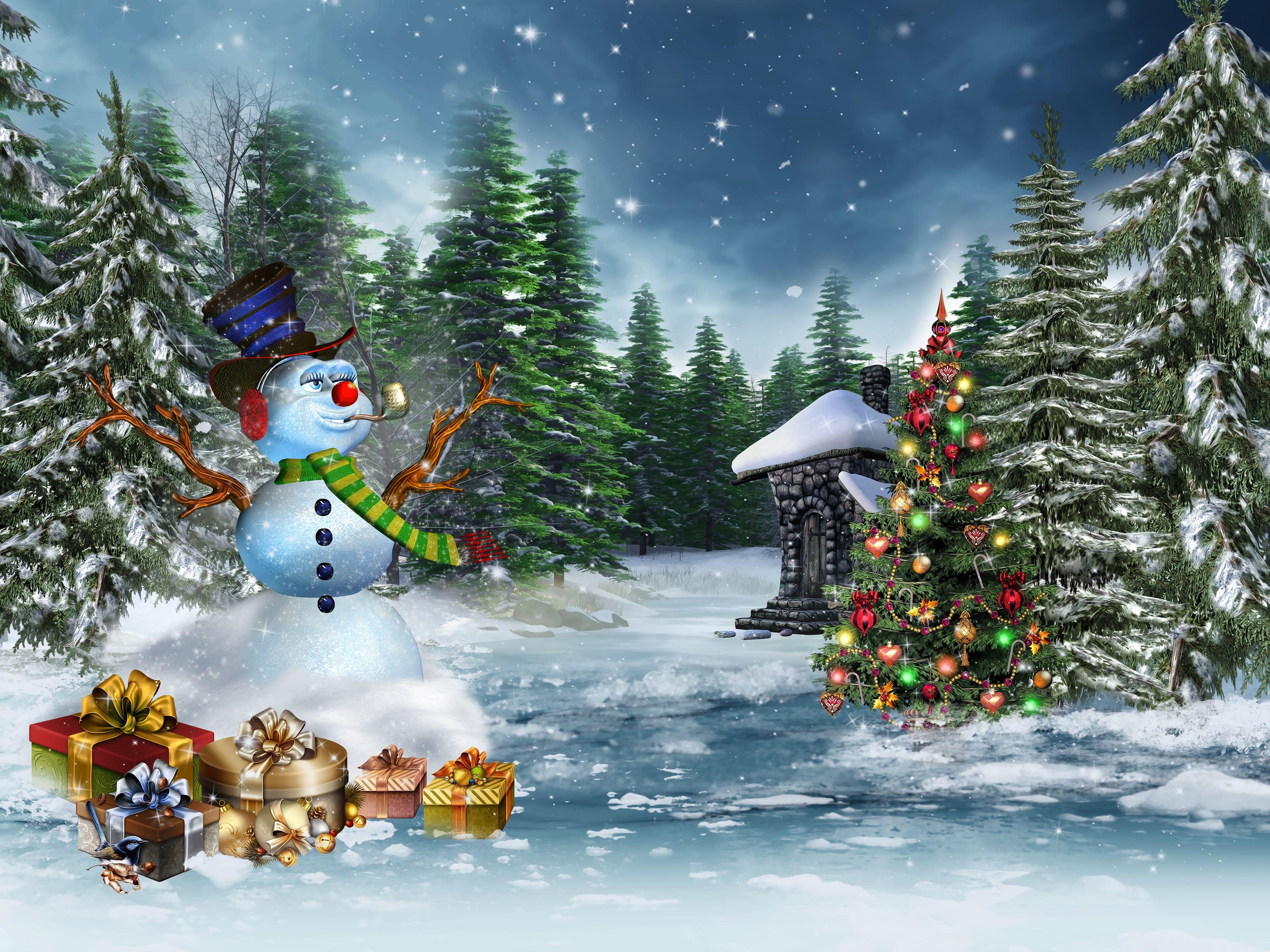 Holidays Christmas ( New year ) Winter Christmas tree Snowmen Fir ...
