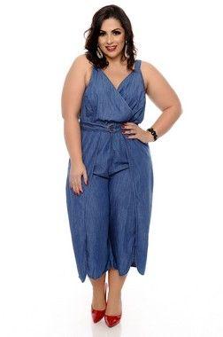 Macacão Jeans Plus Size Mineya 0fc00e99bdc