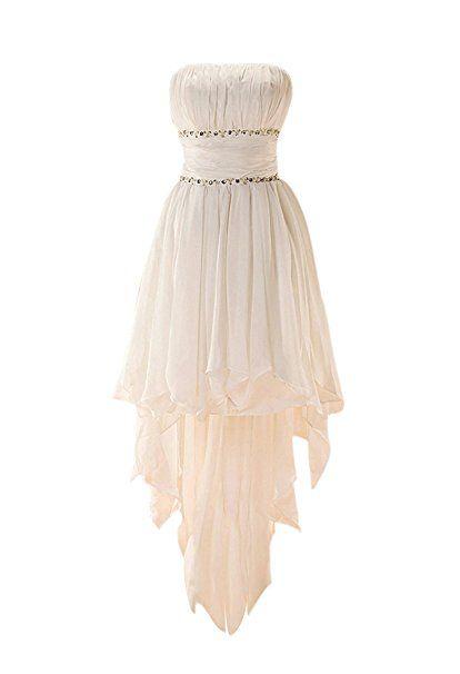 GEORGE BRIDE Popular High Low Beaded Chiffon Beach/Casual Wedding Dress Size 16 White
