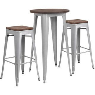 24 Round Metal Bar Table Set With Wood Top And 2 Backless Stools Silver Gray Lancaster Home In 2020 Bar Table Sets Pub Table Sets Round Bar Table