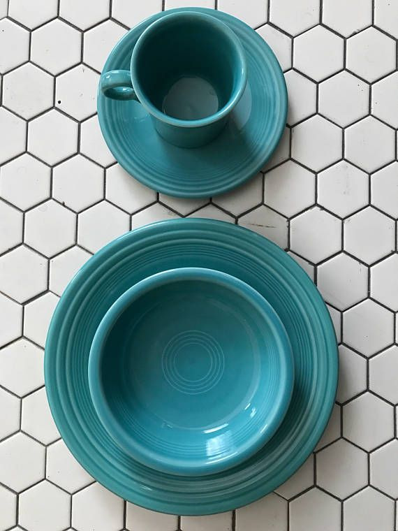 Fiesta® Dinnerware 4-piece Place Setting in Turquoise | EdisonsPlace on Etsy & Fiesta Dinnerware 4pc. Set (Turquoise) | Fiestas Dinnerware and ...