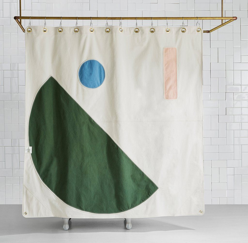 Beacon Pine Color Blocked Canvas Shower Curtain Quiet Town In