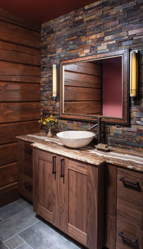 The Backsplash Tiling Of This Cabin Bathroom Creates A Whole New Look That  Looks Great With The Wood Walls.