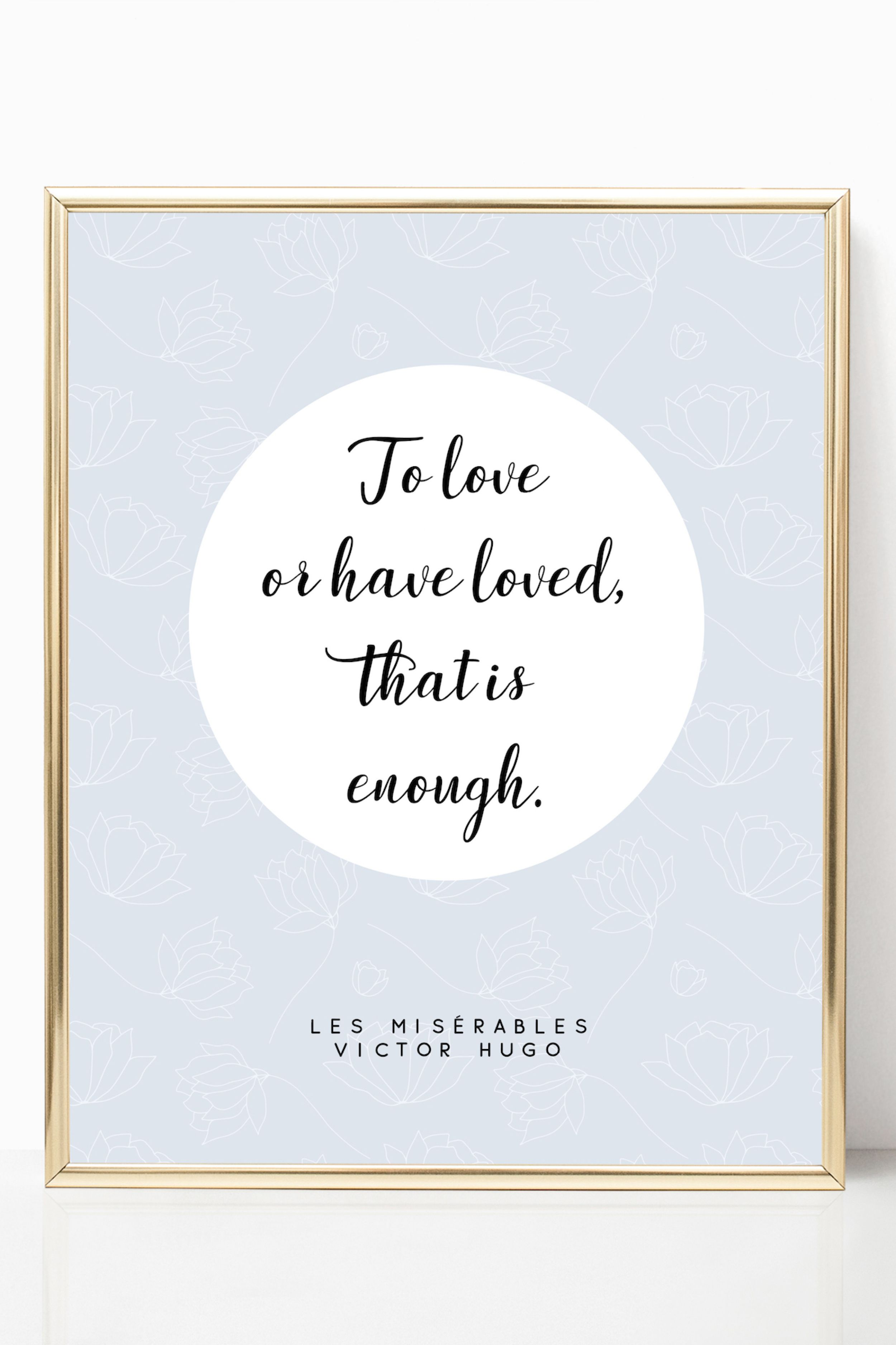les miserables victor hugo love quote print literature art gifts