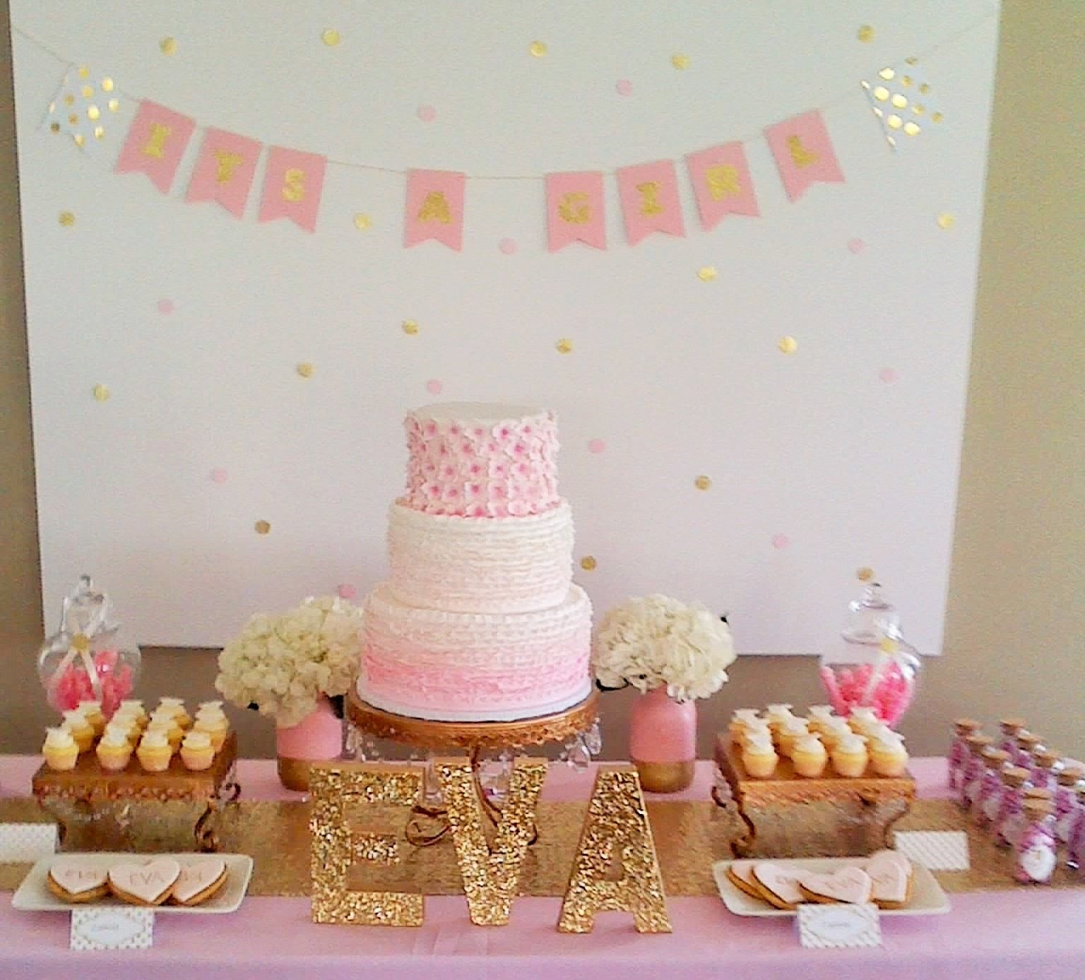 Pink Baby Shower Dessert Table Pink Ombre Ruffle Cake Mini Cupcakes And Gold And Pink Coo Baby Shower Cake Table Baby Shower Cakes Baby Shower Dessert Table