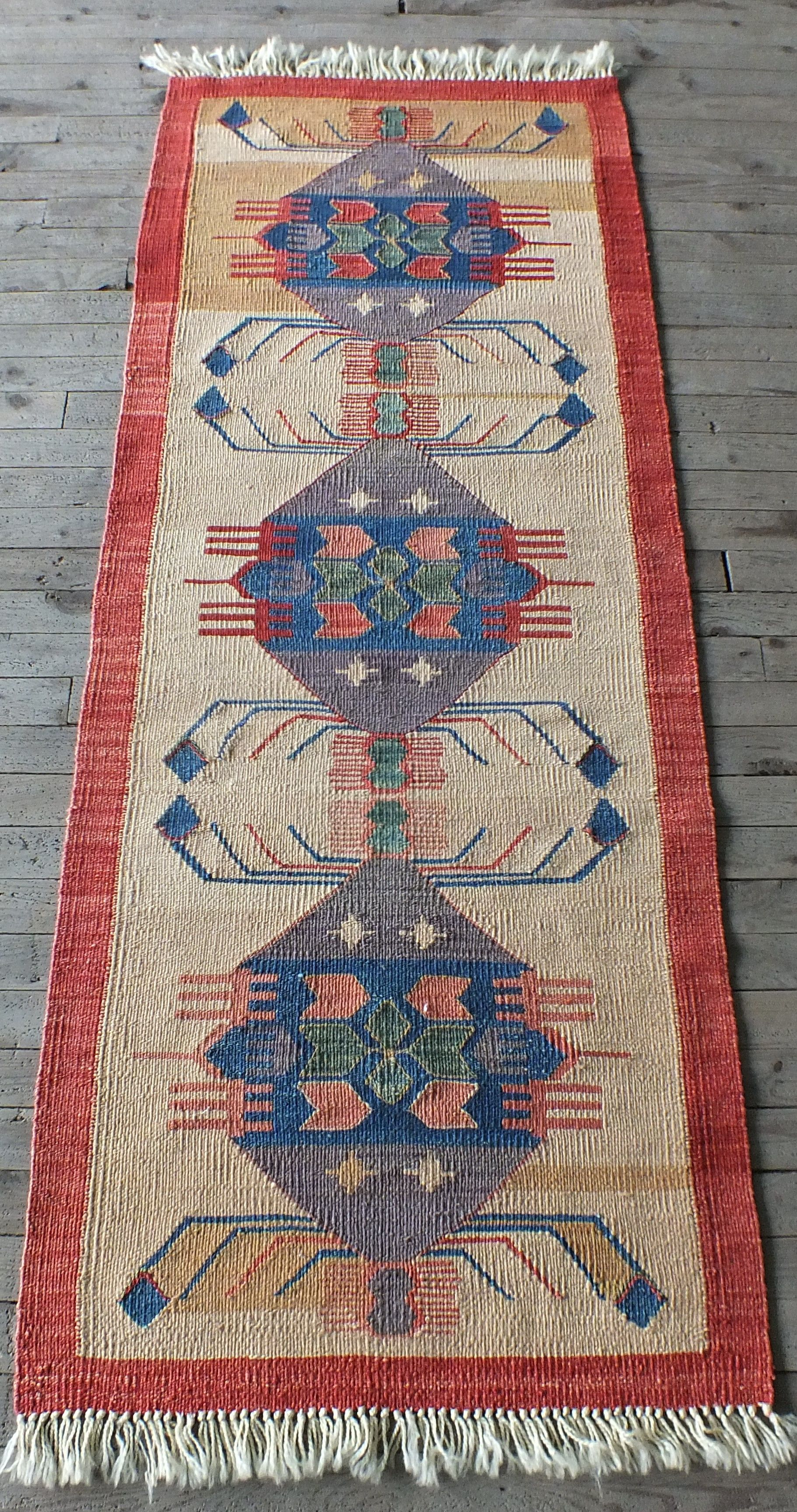 Kilim Rug Vintage Turkish Authentic Design Small Runner Red Bordered Light Yellow Blue Hall Art Beauty