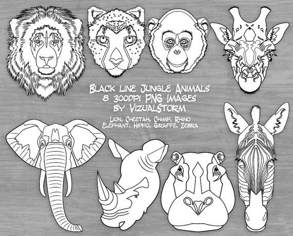 28+ Animal faces clipart black and white info