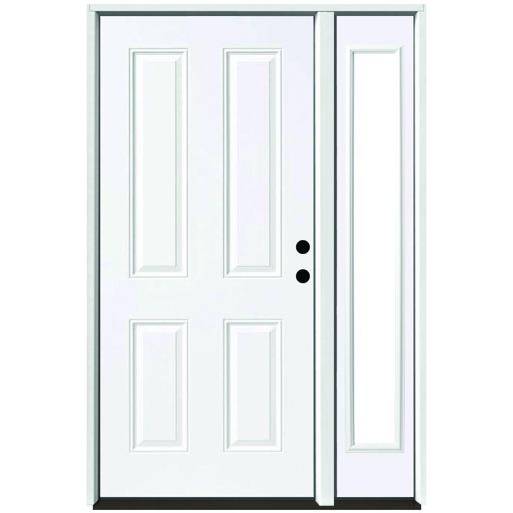 Steves Sons 51 In X 80 In 4 Panel Primed White Right Hand Steel Prehung Front Door With 12 In Clear Glass Sidelite 4 In Wall St40 Pr S12cl R4rh White Front Door Mini Blinds Front