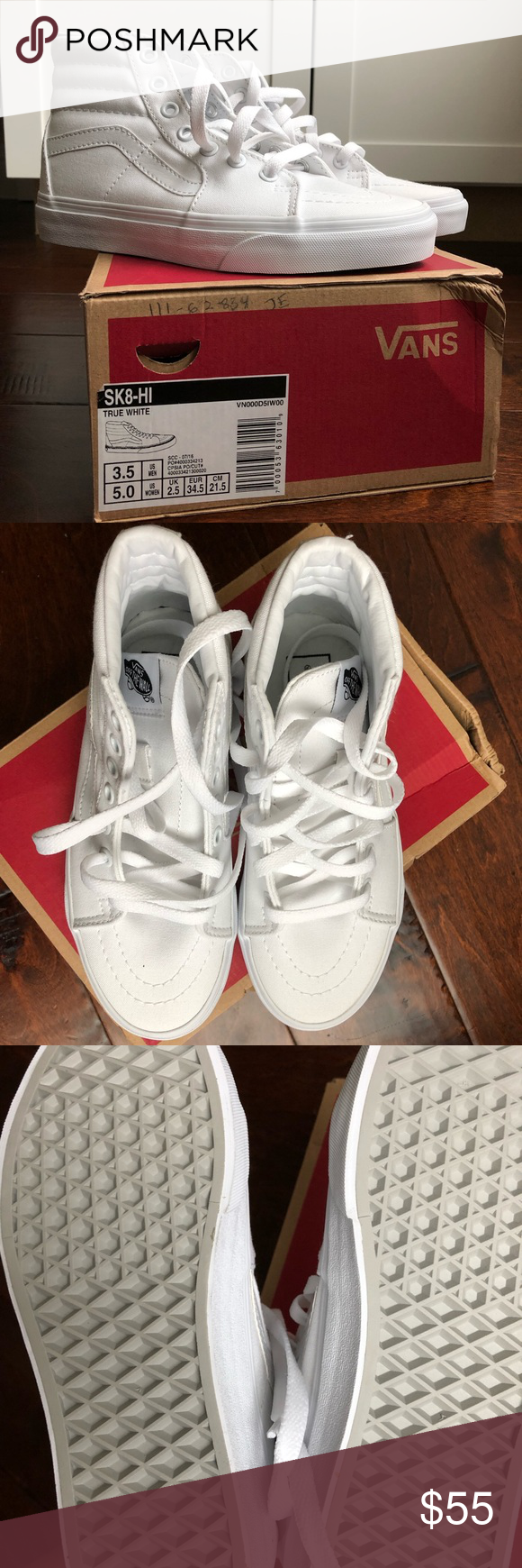 New with box canvas SK8-HI Vans size 3.5 5.0 These are new in excellent  condition never worn Canvas Sk8-HI Vans never been worn. There are no  skuffs marks ... b661bd69f