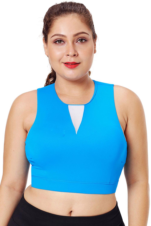 Blue Bra High Neck Plus Size Sport In in 2020 Plus size