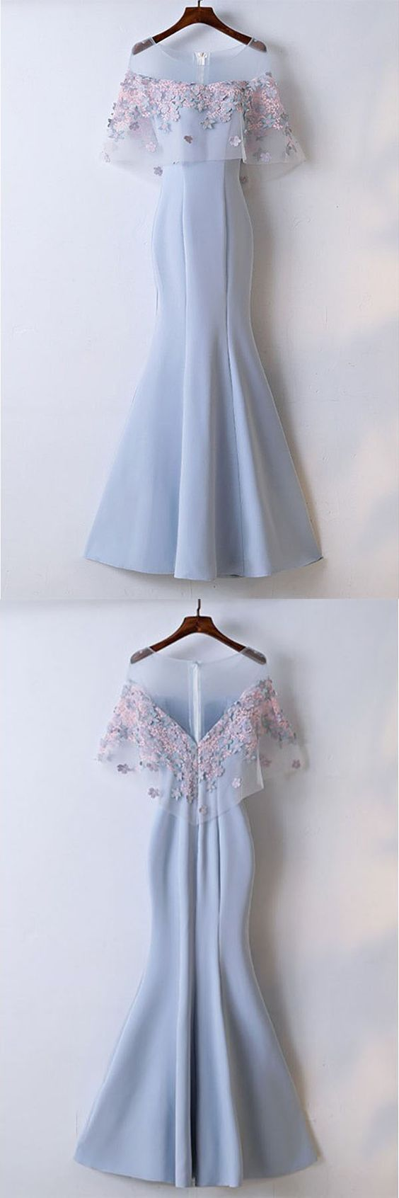 Pretty sky blue mermaid long prom dress with lace flowers hot