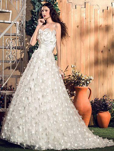 A-line/Princess Strapless Sweep/Brush Train Stretch Satin 2015 Wedding Dress