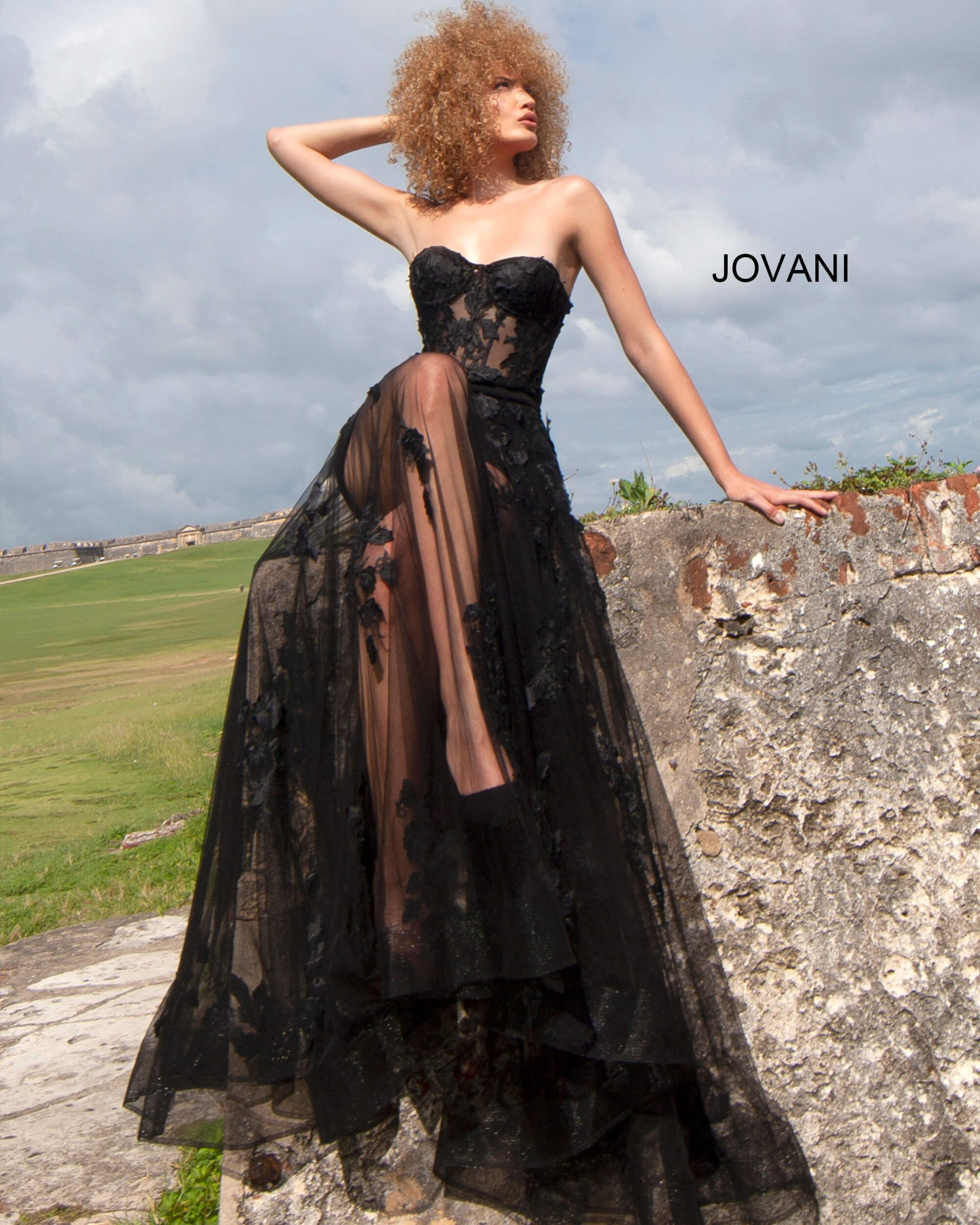 Jovani 02845 Sweetheart Sheer Floral Applique Gown Black Wedding Gowns Dresses Pretty Prom Dresses [ 2500 x 2000 Pixel ]