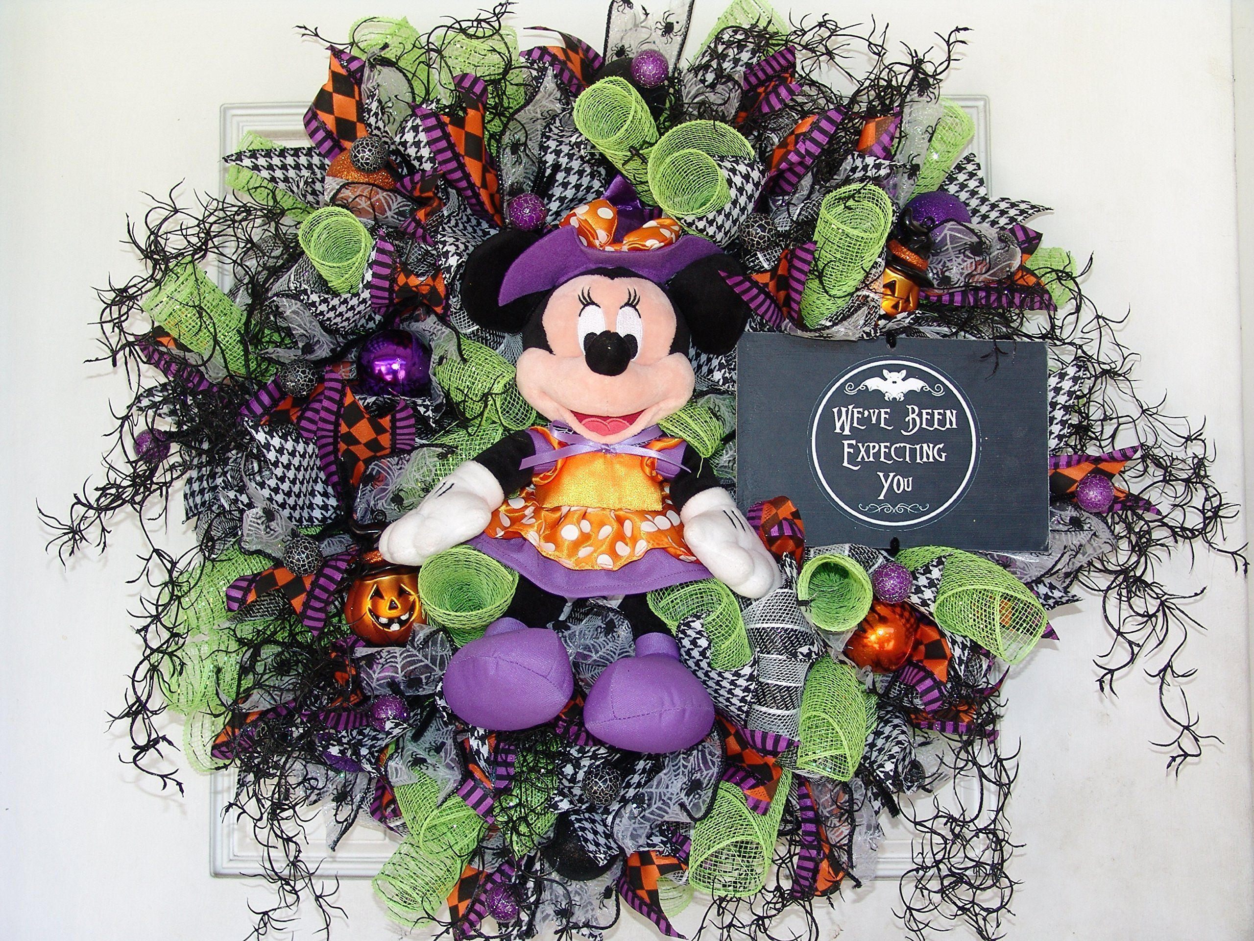 READY TO SHIP! Plush Minnie Mouse Witch Halloween Wreath Decor - Minnie Mouse Halloween Decorations