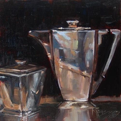 """Daily Paintworks - """"Art Deco Coffee Pot still life painting by Robin Weiss"""" - Original Fine Art for Sale - © Robin Weiss"""