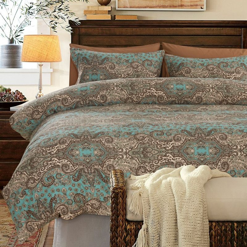 Turquoise Brown and Khaki Classic Baroque Style Shabby ...
