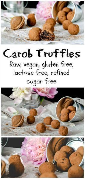 Carob Truffles - raw, vegan, gluten free, lactose free and refined sugar free.