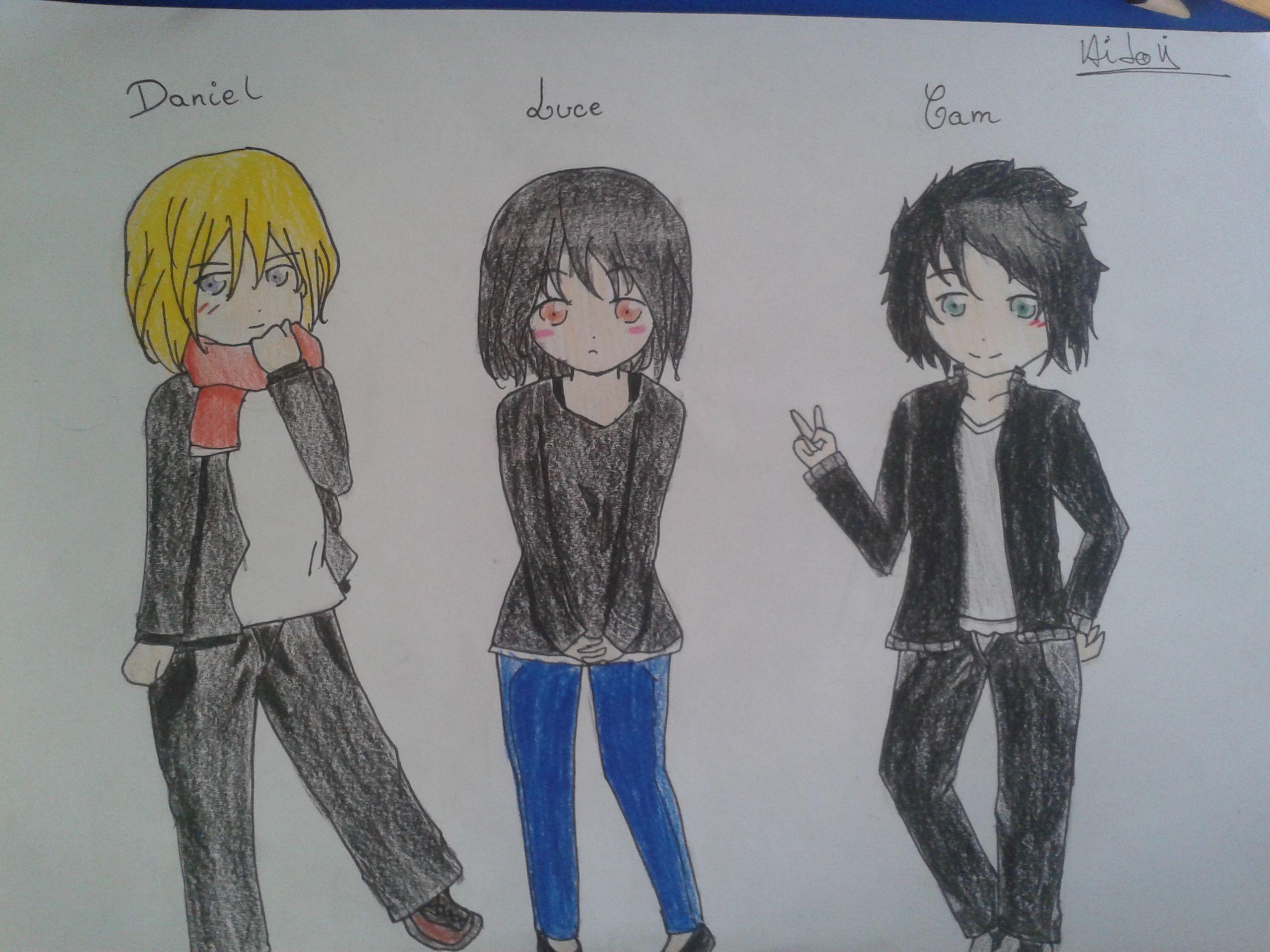 Un dessin que j'ai fait pour illustrer 3 des personnages d'un livre appeler Damnés de Lauren Kate ^^