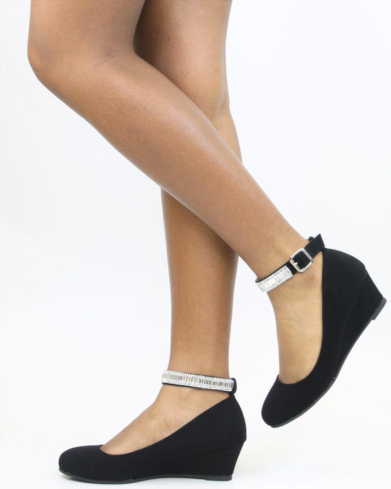 One Of A Kind Rhinestone Wedge Black   Heels, Ankle strap